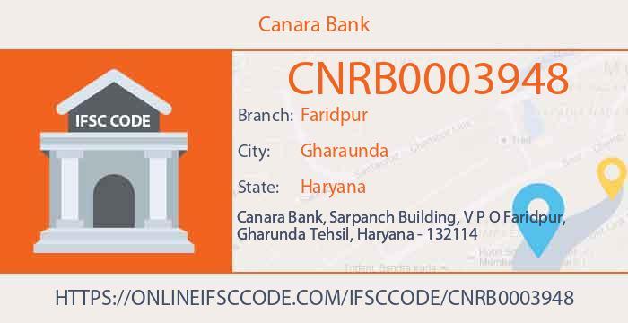 Canara Bank Faridpur Karnal IFSC Code